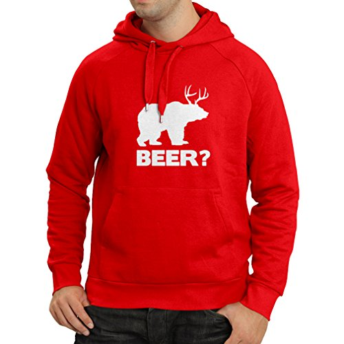 lepni.me Hoodie Bear - Funny Beer Lover Gift, Humorous, Parodic, Pub, Bar, Party, Drinkers Enthusiasts (Medium Red White)