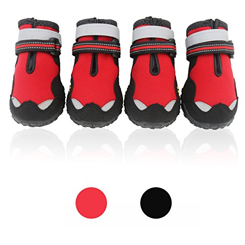 Hawkeye Boot (UonlyU Dog Boots Waterproof Dog Shoes Paw Protectors - Unique Reflective Hawkeyes and Paw Embroidery,Double Reflective Velcro,Breathable Leather,Adjustable Straps,Rugged Anti-Slip Sole,4PCS (4, Red))