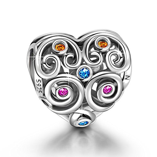 Ninaqueen 925 Sterling Silver Heart-shaped Hollow (Heart Shaped Sterling Silver Charm)
