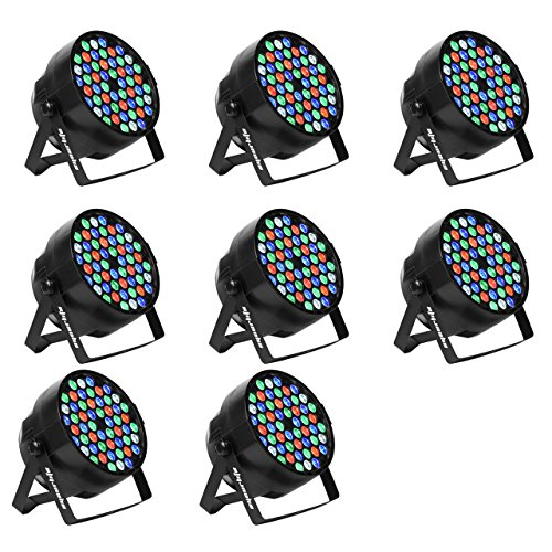 Eyourlife 8pcs 54X3W LED DJ PAR Light RGBW 162Watt DMX 512 Stage Lighting Disco Projector (Led Par Lights)