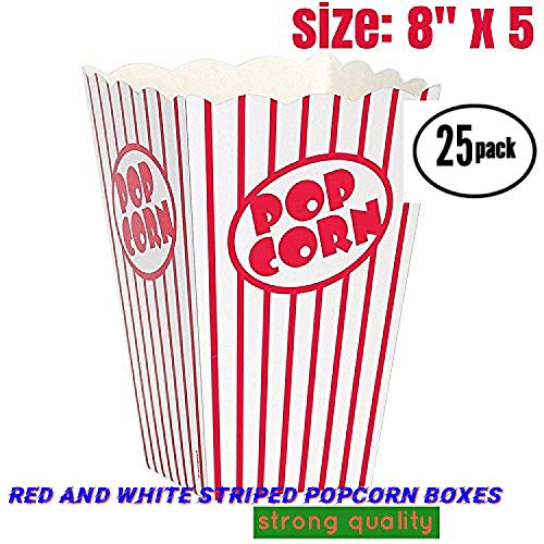popcorn box cardboard Red and White Striped Popcorn Boxes Popcorn Bucket for Movie Theater , Carnival, party, circus, (25,8