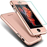 iphone 5 case split - iPhone 5S Case,iPhone 5 Case, COOLQO® Full Body Coverage Ultra-thin Hard Hybrid Plastic with [Slim Tempered Glass Screen Protector] Protective Case Cover & Skin for Apple iPhone 5S/5 (Rose Gold)
