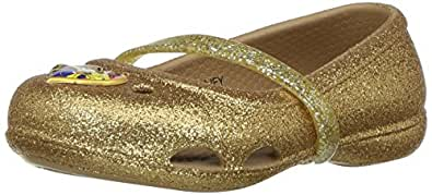 crocs Girls' Lina Beauty Andthe Beast Flat, Gold, 4 M US Toddler