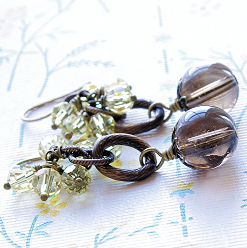 Smoky Quartz Earrings Swarovski Crystal Dangle Brown Gemstone Yellow Bead Brass Handmade Jewelry