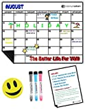 Magnetic Dry Erase Calendar Set 17''x13'' with Premium Flat Box | 17x13 Board & 6x8 Board & 3 Markers & Smile Eraser | Monthly Planner Organizer White Board For Refrigerator Fridge Kitchen Home office
