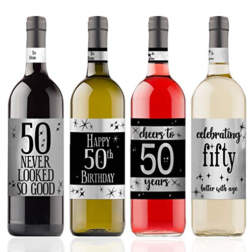 (Black and Silver 50th Birthday Wine Bottle Sticker Labels | Shiny Foil | 4 Count)