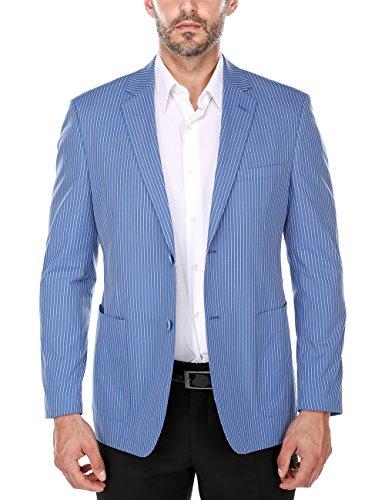 Chama Summer Blue and White Textured Pinstripe Slim Fit Cotton Blazer (42L) White Pinstripe Blazer