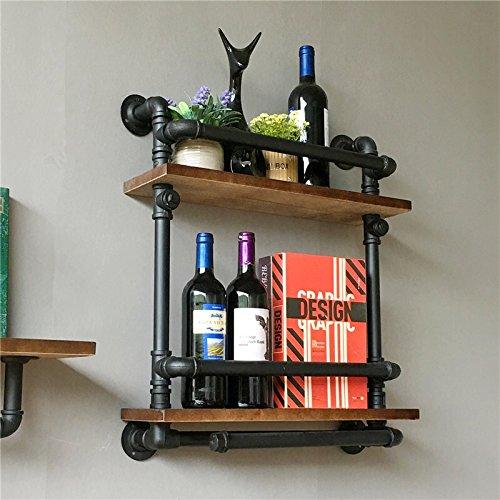Warm Van Wall Mounted Wood Storage Shelves,Rustic Wine Rack, Industry Liquor Bottle Holder, Iron Pipe Bracket,Farmhouse Shelf by Warm Van (Image #1)