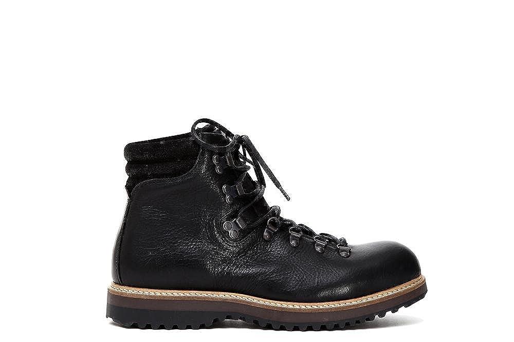 CAF schwarz QD201 Schwarze Schuhe Frau Schnürsenkel Leder