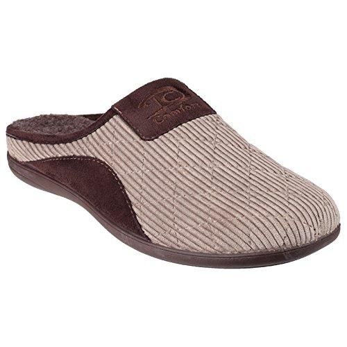 Cotswold Mens Tysoe Mule Pantofole Trapuntate A Contrasto Beige