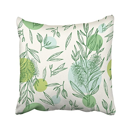 Emvency - Fundas de almohada decorativas para árbol de té de dibujo verde, cosméticos, plantas médicas, aceite, aroma,...