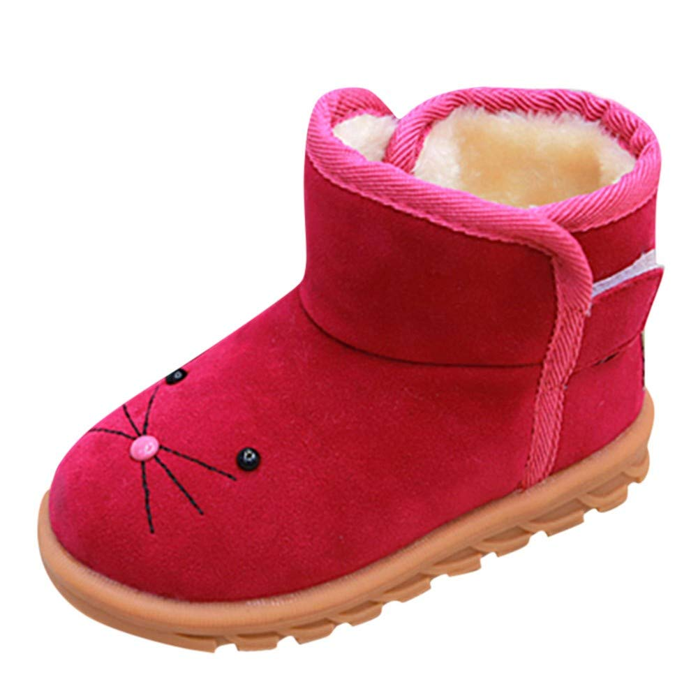 Unisex Kids Baby Girls Winter Warm Cat Striped Slippers Home Indoors Soft Anti-Slip Plush Boots Footie Shoes