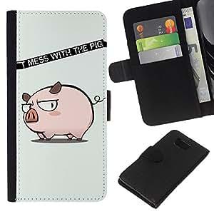 KingStore / Leather Etui en cuir / Samsung ALPHA G850 / Divertido no ensucie con el cerdo