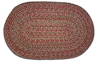 product image for Oval Braided Rug (2'x3'): Merlot Blend - No Band
