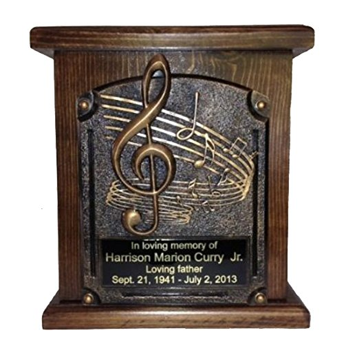 Music Lovers Cremation Urn, Wood Funeral Urns, with Engraving