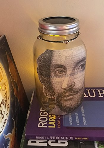 Glass Luminary (Handmade William Shakespeare portrait decoupage Recycled paper Luminary Jar with Glass Bead accents)