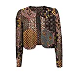 YUNY Women's Crop Top Africa Coat Batik Floral Stylish Office Cardigan 8 XS