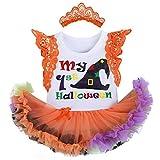 OBEEII Baby Girls 1st Halloween Costume Pumpkin Skull Flare Sleeve Ropmer Ruffle Tutu Skirt with Headband Leg Warmer Shoes Christmas Cosplay Party Fancy Dress for Newborn Toddler 0-3 Months