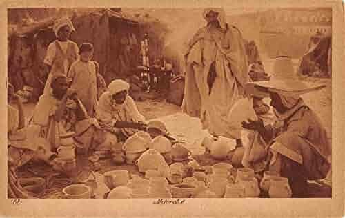 Native Village Pottery Market Scene Morocco ? Merchants Antique Postcard K68471