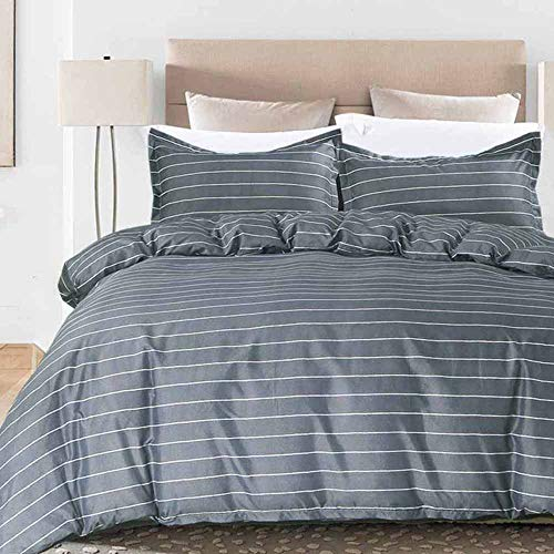 NANKO Striped Duvet Cover Queen Sets, 90x90 Soft Breathable Lightweight Microfiber 3 pc Set (1 Cover 2 Pillowcase) with Zip, Dyed Comforter Quilt Cover Modern Bed for Men Women, Blue Gray (Covers Set Duvet Country)