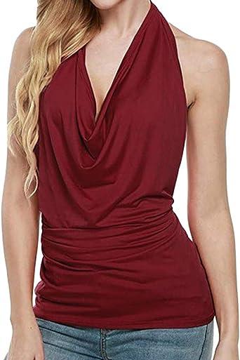 Blusa sexy sin espalda con cuello de vaca, sin espalda, sin mangas, camisa con camisa: Amazon.es: Hogar