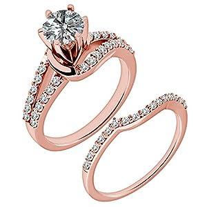 0.96 Carat G-H I2-I3 Diamond Engagement Wedding Anniversary Halo Bridal Ring Set 14K Rose Gold