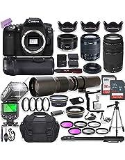 Canon EOS 90D DSLR Camera w/ 18-55mm Lens Bundle + Canon 75-300mm III Lens, Canon 50mm f/1.8 & 500mm Preset Lens + Camera Case + 96GB Memory + Battery Grip + Speedlight Flash + Professional Bundle