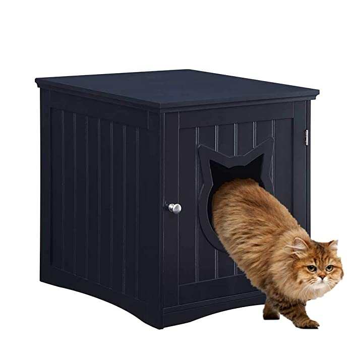 Cat House Side Table, Nightstand Pet House, Litter Box Furniture Indoor Pet Crate Litter Box End Table, Litter Box Enclosure,
