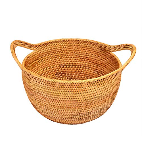 Large Seagrass Woven Wicker Basket with Arched Handles, Rustic Natural Brown Finish, as Coastal Decorative Accent or Storage, Hand Made, Bodhi, Bread Snack Fruit Bowl Remote Control Storage ()