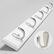 Familiemeister 5 Hooks Coat Hook Wall Mounted for Bags Scarves Hats Keys Umbrellas Robes (White)
