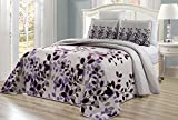 Purple King Size Quilt Cover 3-Piece Fine Printed Oversize (118