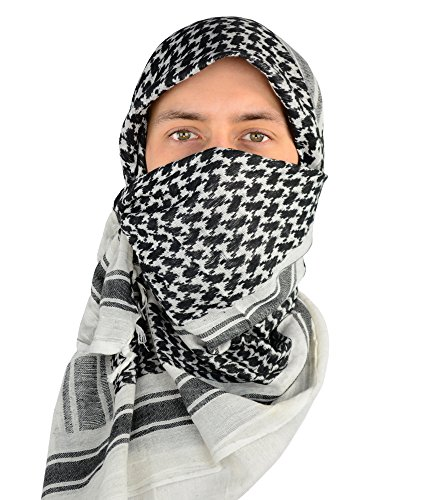 Mato & Hash Military Shemagh Tactical 100% Cotton Scarf Head Wrap - White/Black CA2100 - 2