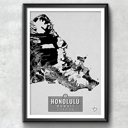 Honolulu Hawaii Map with Coordinates, Honolulu Map, Map Art, Map Print, Honolulu Print, Honolulu Art, Honolulu Gift, Map, Honolulu Wall Art, Honolulu Map - Picture Honolulu Frames