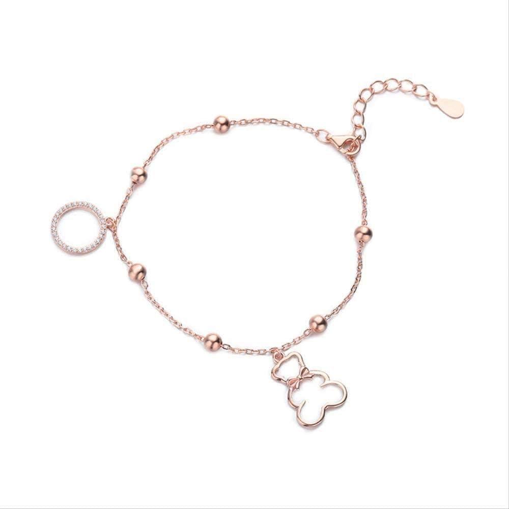 Collar Temperamento Mujer S Pulsera De Modelado con Osito De Diamantes con Incrustaciones De Oro Rosa Circón Joyas De Mano