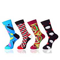 FULIER Mens Cool Colorful Funky Funny Comfort Cotton Design Casual Crew Dress Socks