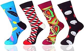FULIER Men's Socks 4 Pack Funky Colorful Design Casual Crew Gift Dress Socks