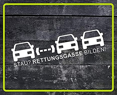 Dinger Design Aufkleber Stau Rettungsgasse Bilden Feuerwehr Rettungsdienst Polizei Thw Weiß 80 X 20 Cm Auto