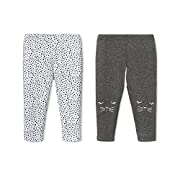Lamaze Baby Organic 2 Pack Pants, Grey Kittie, NB
