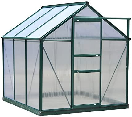 Outsunny – Invernadero de jardín (Aluminio y policarbonato Lucarne, Puerta corredera + Fundación incluida ALU. Verde policarbonato Transparente: Amazon.es: Jardín