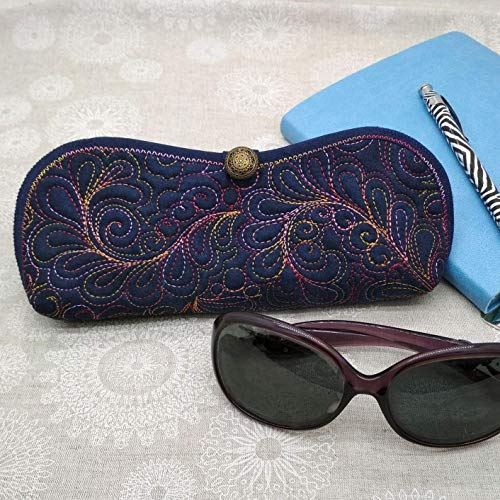 - Eyewear case Reading Glasses or Sunglasses Case- Feather motif - Dark Blue and Red Stitch