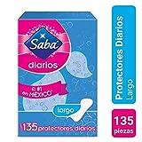 Saba Protectores Diarios Tradicionales, Largos, con Cubierta Suave y Aloe Vera; Saba; 135 Piezas