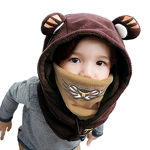 Leories Kids Winter Windproof Cap Thick Warm Face Cover Adjustable Ski Hat Brown
