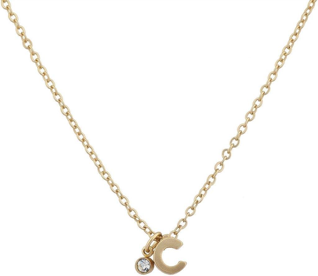 Lux Accessories - Collar con colgante de inicial en forma de C, color dorado