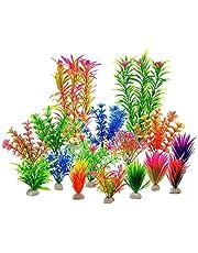 ruiruiNIE Plantas acuáticas Artificiales 16 Piezas Grandes Plantas de Acuario Decoración de Tanque de Peces de plástico