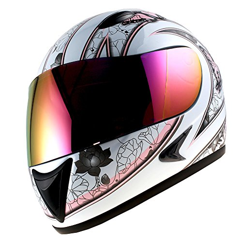 (1Storm Motorcycle Street Bike BMX MX Youth Kids Girl Full Face Helmet Butterfly Pink)