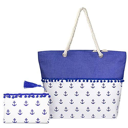 Me Plus Women Beach Bag and Pouch 2 pieces Set Tote Shoulder Bag Travel Organizer Pouch (2PCS-Anchors Tote Bag & Pouch)