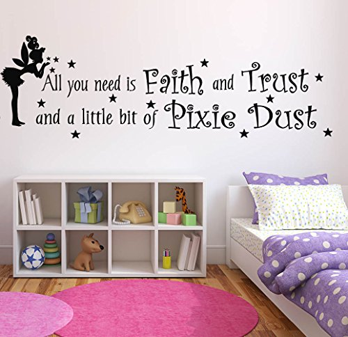 Wall Decal Sticker Bedroom Tinkerbell Quote All You Need Faith Cartoon Kids Girls Boys Teenager Room 633b ()