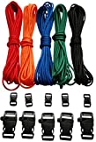 """PARACORD BASIC COLOR KIT  This kit comes with: • Five colors each 20 Feet (Red, Black, Green, Blue, and Orange) = 100 feet total:• 5 black side release buckles 3/8""""• 5 black side release buckles 3/4"""" with Emergency Survival Whistle BONUS!! -Includes ..."""