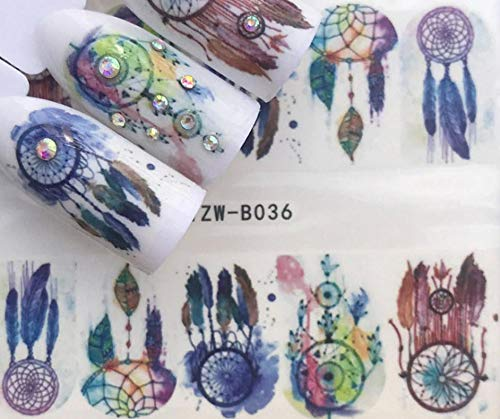 Plus Size Appeal Full Sheet Dreamcatcher - Feather - Watercolor - Nail Stickers - Salon Quality Nail Art Nail Wrap Nail Decals - 1 Sheet