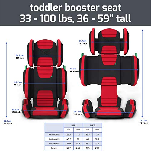 518ovEvDaHL - Hifold Fit-and-fold Highback Booster Seat, Racing Red – Adjustable Highback Booster Car Seat For Everyday, Carpooling And More – Foldable Booster Seat For Travel